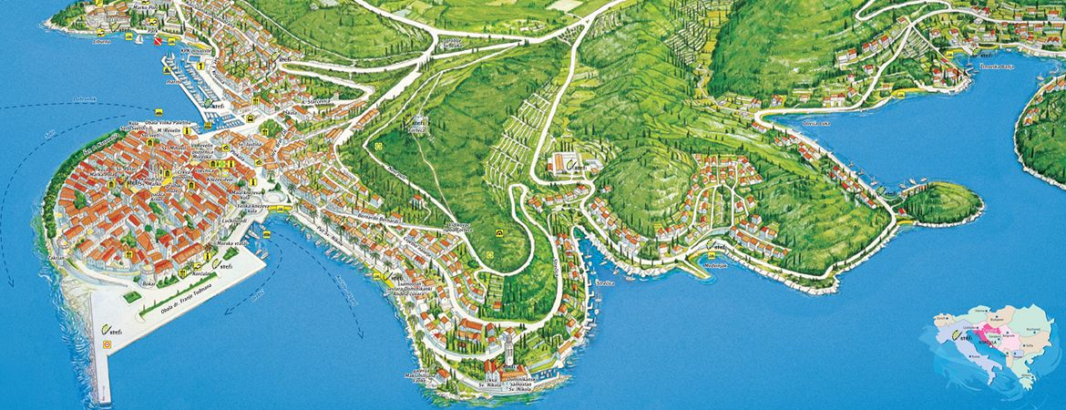 Panoramic and pictorial maps - Korčula